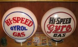Rare Hi Speed Pair of Gas Globes